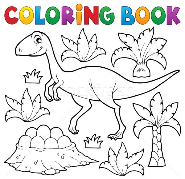 книжка-раскраска динозавр тема книга краской искусства Сток-фото © clairev