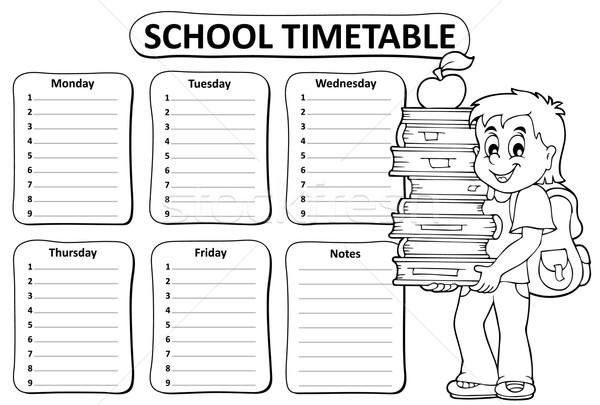 Black and white school timetable theme 2 Stock photo © clairev