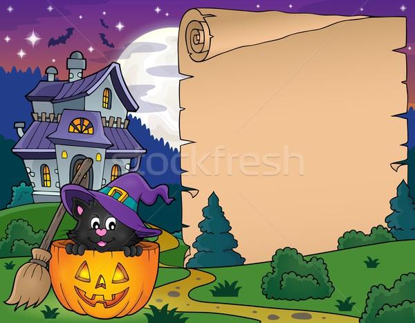 Halloween pergamino gato calabaza dibujo camino Foto stock © clairev