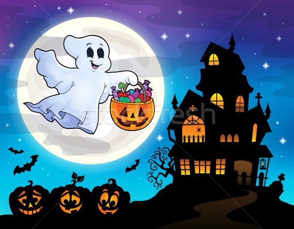 Halloween ghost near haunted house 2 Stock photo © clairev