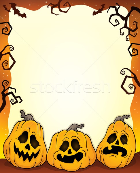 Outlined pumpkins Halloween frame 1 Stock photo © clairev