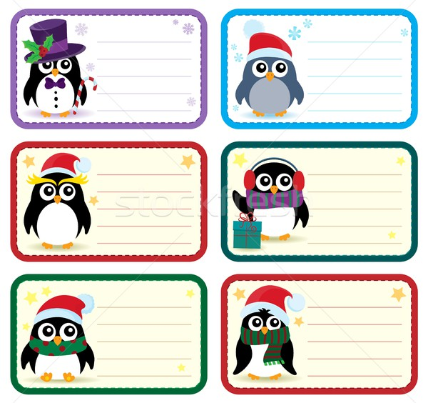 Christmas tags with penguins theme 1 Stock photo © clairev