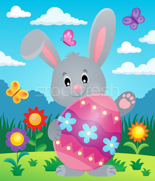 Stylized bunny with Easter egg theme 5 Stock photo © clairev