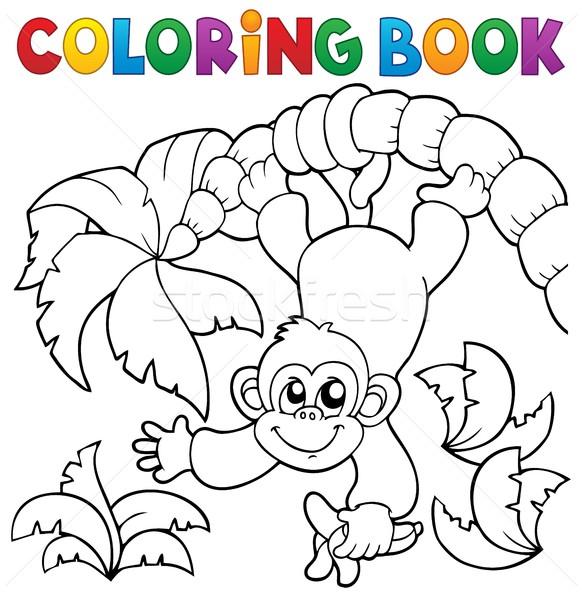 Boyama Kitabı Maymun Ağaç Kitap Yaprak Boya Vektör
