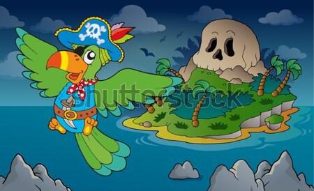 Pirat crocodil mare craniu navă sabie Imagine de stoc © clairev