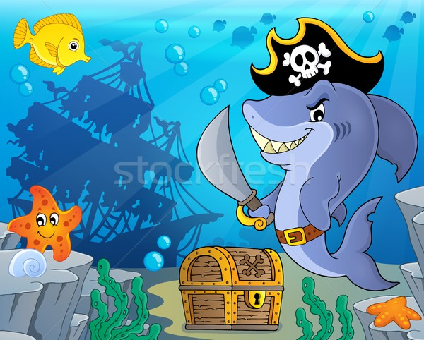 Pirate shark topic image 3 Stock photo © clairev