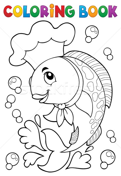 Coloring book with fish chef Stock photo © clairev