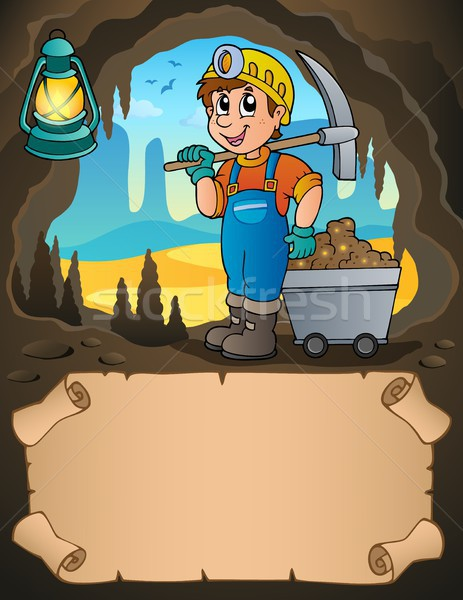 Small parchment and miner with cart Stock photo © clairev