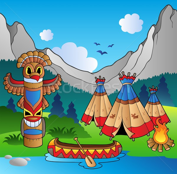 Indian village with totem and canoe Stock photo © clairev