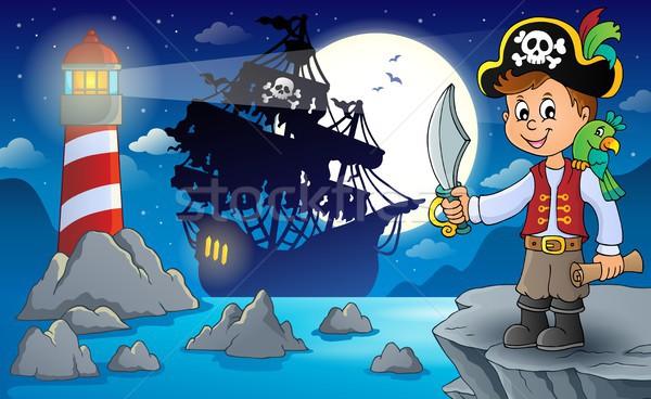 пиратских мальчика тема изображение ребенка морем Сток-фото © clairev