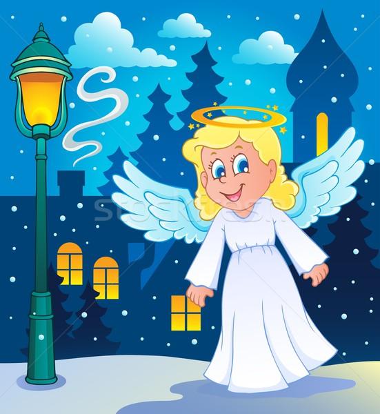 Görüntü melek gülümseme tüy lamba çizim Stok fotoğraf © clairev
