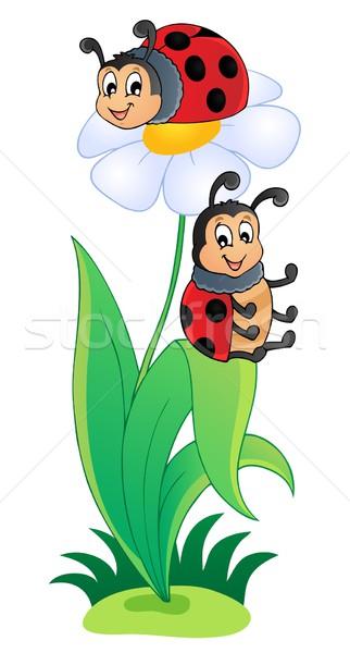 изображение Ladybug улыбка лист лет листьев Сток-фото © clairev