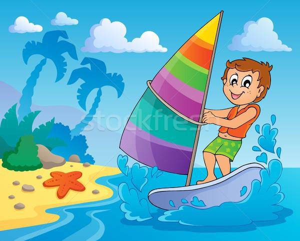Agua deporte imagen playa mar nino Foto stock © clairev