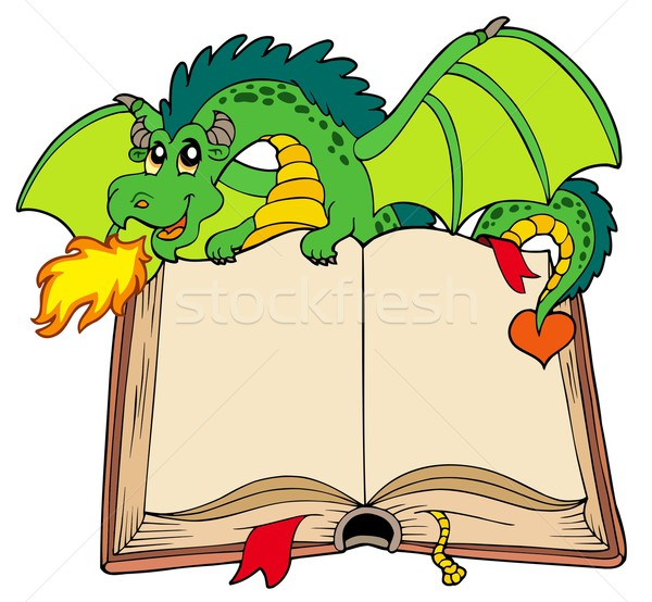Green dragon holding old book Stock photo © clairev