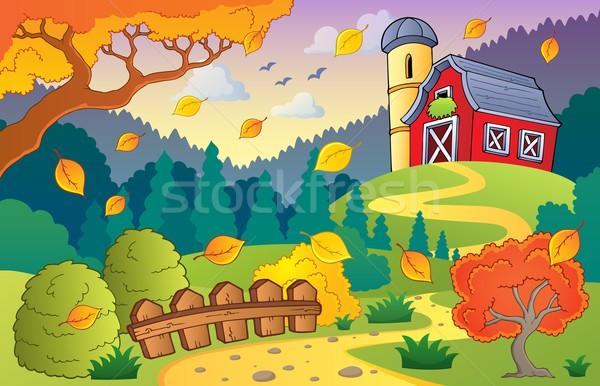 Najaar boerderij landschap blad bladeren hek Stockfoto © clairev