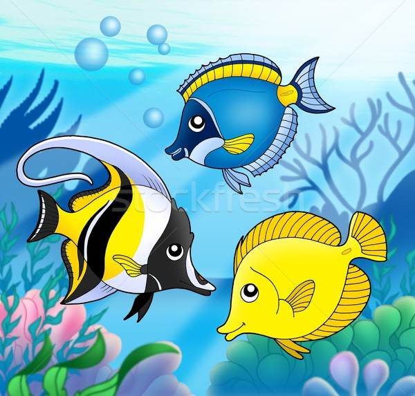 Corail poissons ensemble mer couleur illustration Photo stock © clairev