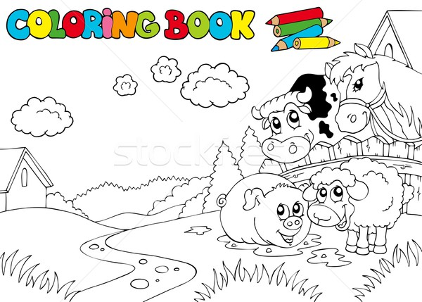 Coloring book with cute animals 3 Stock photo © clairev