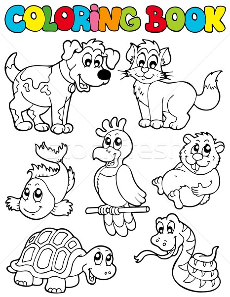 Coloring book with pets 2 Stock photo © clairev