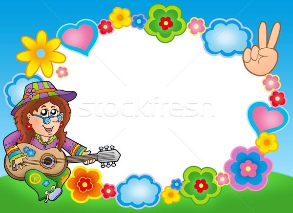 Hippi çerçeve gitarist renk örnek çiçek Stok fotoğraf © clairev