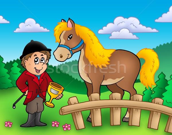 Rajz zsoké ló szín illusztráció mosoly Stock fotó © clairev