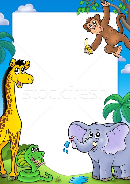 Frame with various African animals Stock photo © clairev