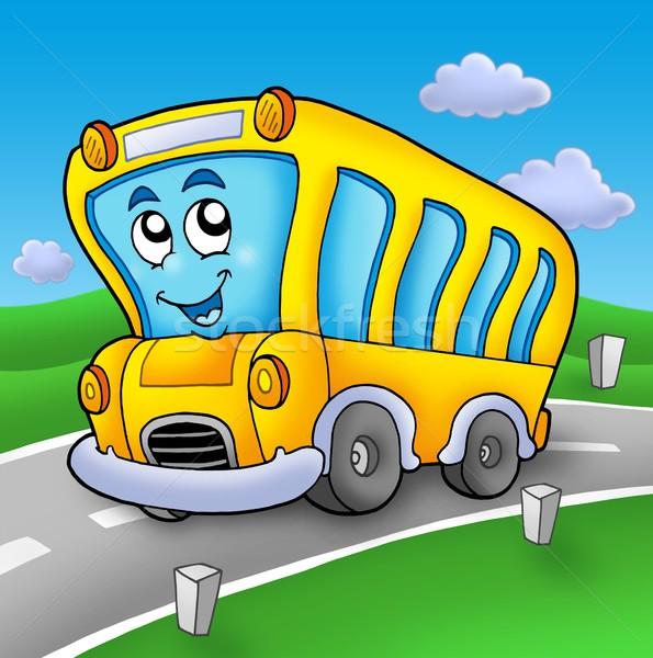 Yellow school bus on road Stock photo © clairev