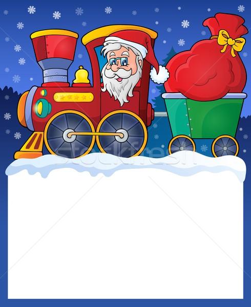 Pequeño marco Navidad tren cara nieve Foto stock © clairev
