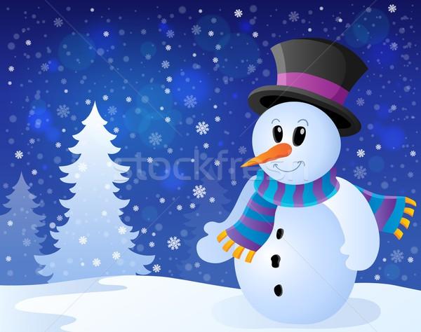 зима снеговик тема изображение одежды улыбаясь Сток-фото © clairev