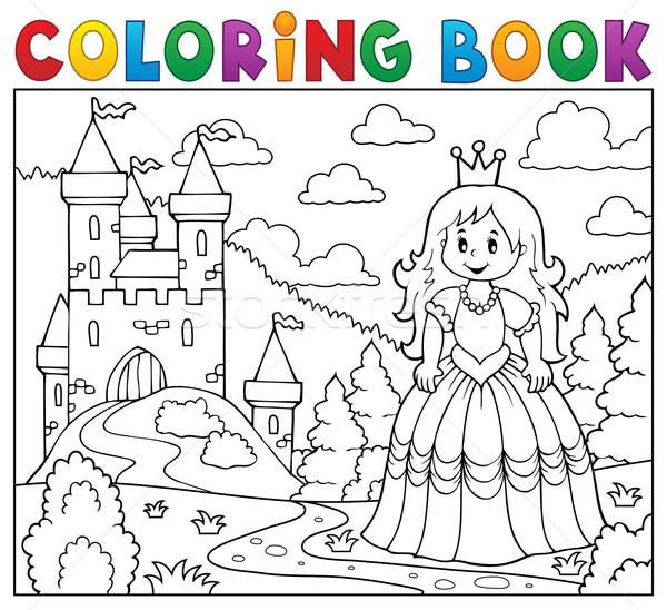 Livre de coloriage princesse château fille livre bâtiment Photo stock © clairev