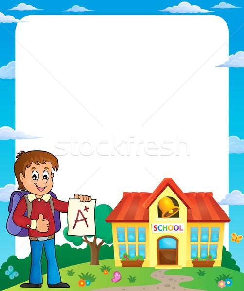 Keret iskolás fiú mosoly épület iskola diák Stock fotó © clairev