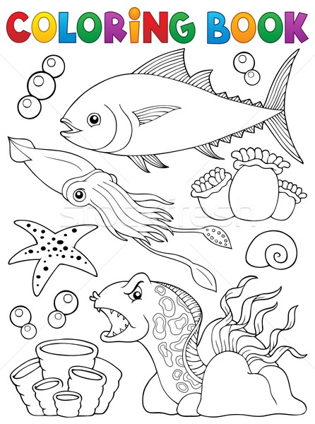 Coloring book marine life theme 1 Stock photo © clairev