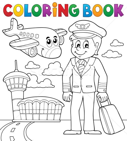 книжка-раскраска авиация книга здании человека счастливым Сток-фото © clairev