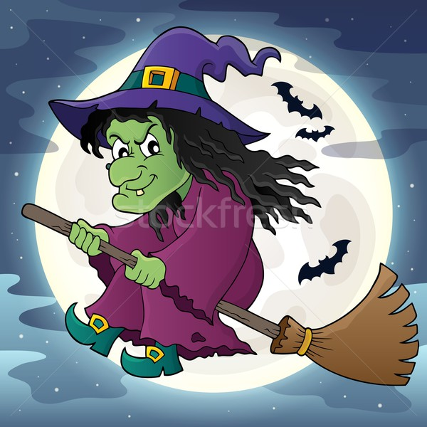 Witch on broom theme image 2 Stock photo © clairev