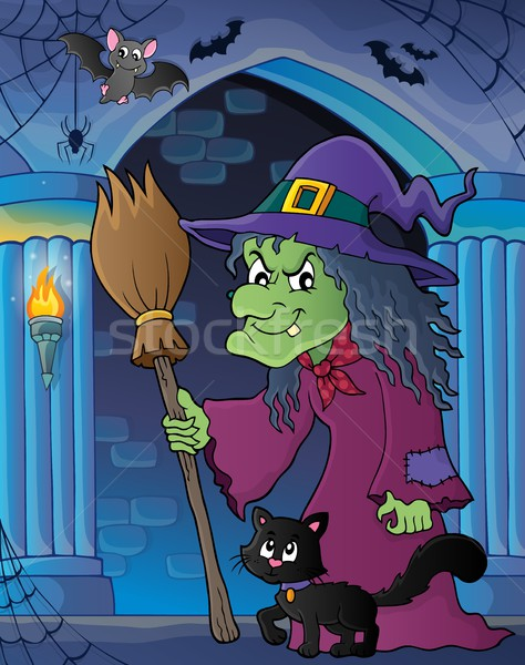 Witch with cat and broom theme image 5 Stock photo © clairev