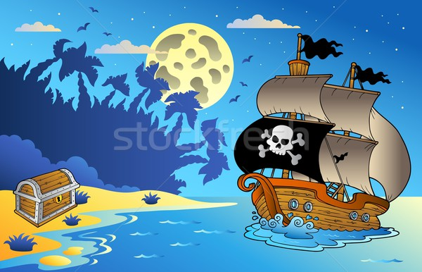 Night seascape with pirate ship 1 Stock photo © clairev