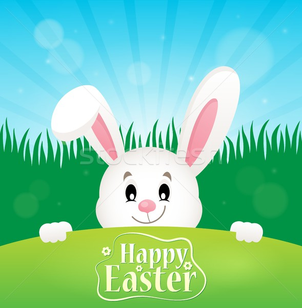 Happy Easter theme with lurking bunny Stock photo © clairev