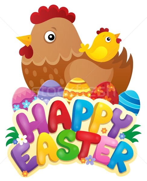 Happy Easter sign with hen and chicken Stock photo © clairev