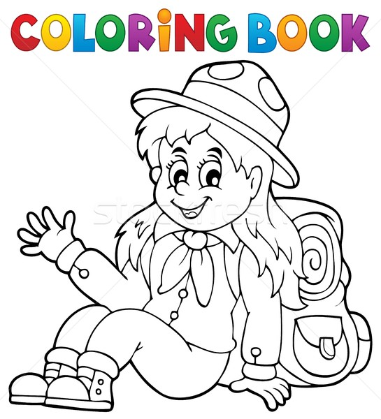 Boyama Kitabı Izci Kız Gülümseme Kitap çocuk Vektör