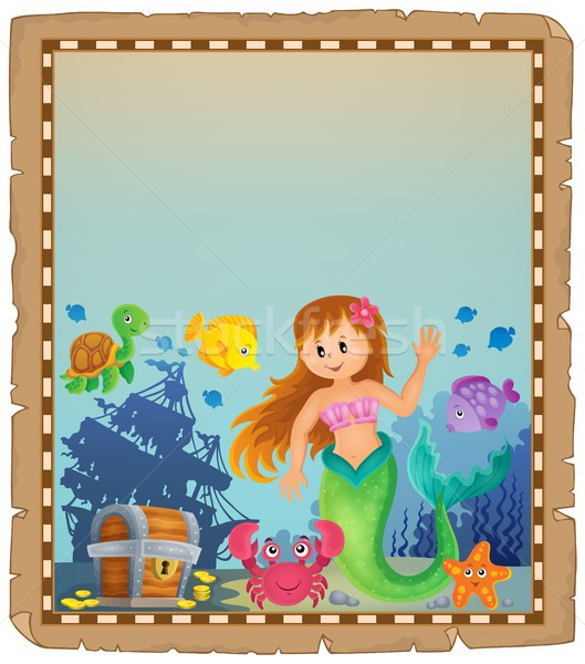 Parchment with mermaid topic 4 Stock photo © clairev