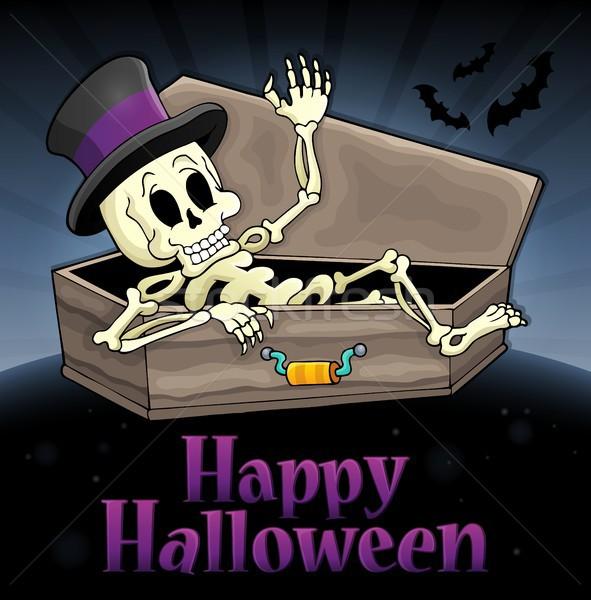 Szczęśliwy halloween podpisania szkielet jesienią hat Zdjęcia stock © clairev