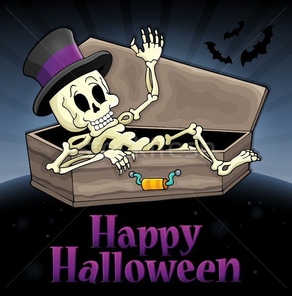 Happy Halloween sign with skeleton Stock photo © clairev