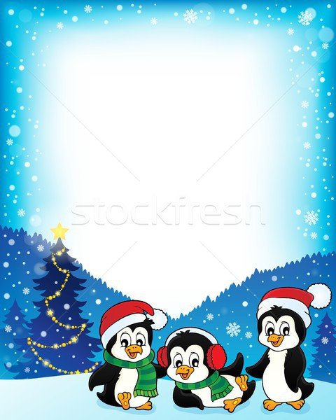 Christmas penguins thematic frame 1 Stock photo © clairev