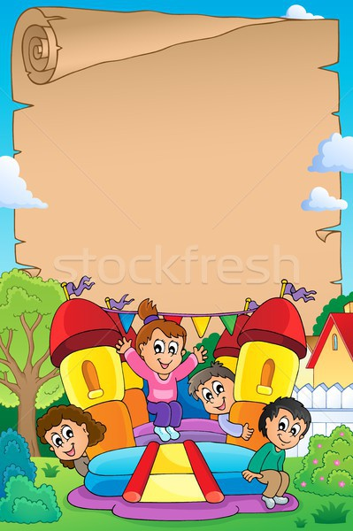Kids on inflatable castle parchment 1 Stock photo © clairev
