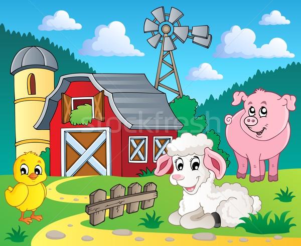 Stok fotoğraf: çiftlik · görüntü · kuş · tavuk · hayvanlar · koyun