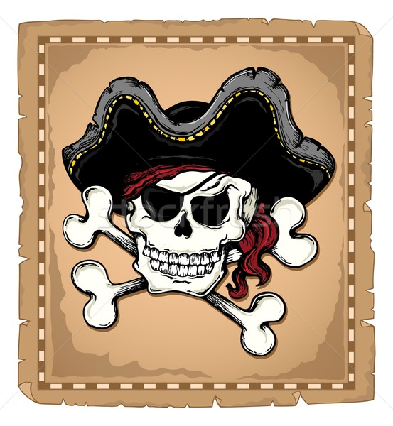 Vintage pirate skull theme 2 Stock photo © clairev