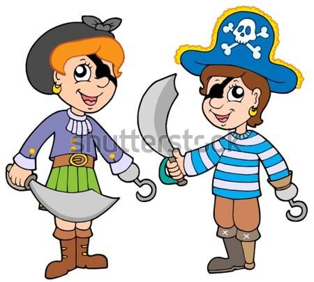 Foto stock: Pirata · menina · papagaio · mulher · olhos · crânio
