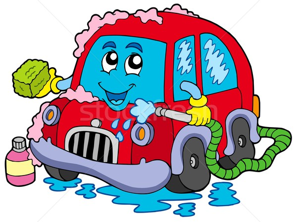 Cartoon lavage de voiture voiture mains visage design Photo stock © clairev