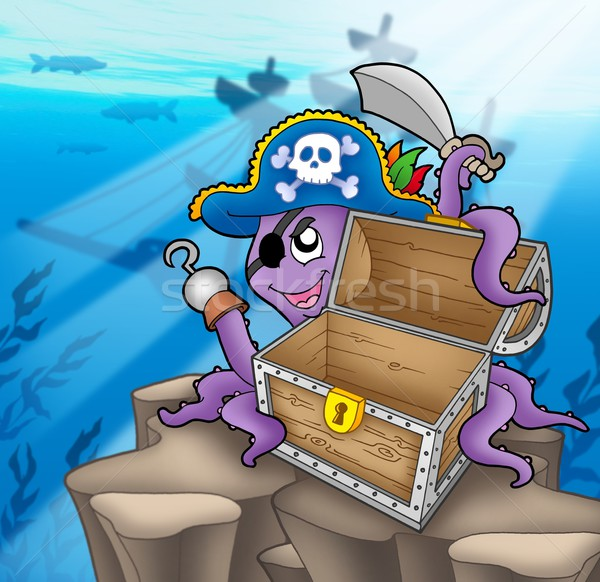 Pirate octopus with chest in sea Stock photo © clairev