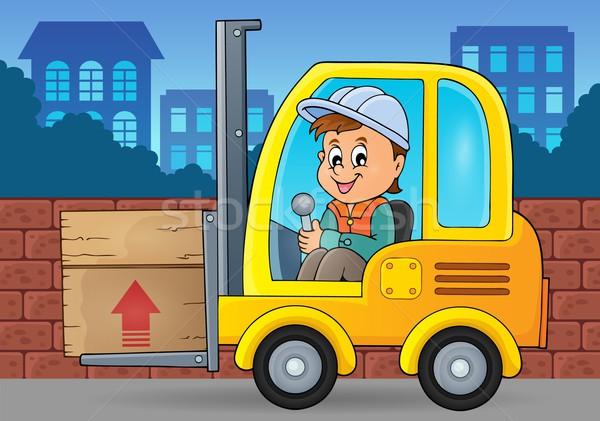 Stockfoto: Vork · lift · vrachtwagen · afbeelding · man · gelukkig