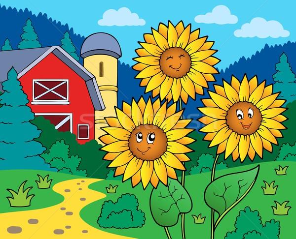Sunflowers near farm Stock photo © clairev
